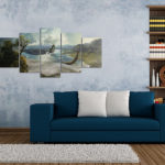 Vintage room with modern couch