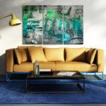 Contemporary elegant fresh living room, beige sofa in sunlight