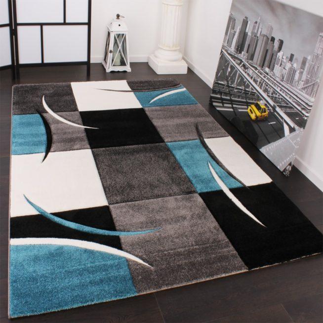 Moderner Teppich Wohnzimmer Karo Turkis Grau