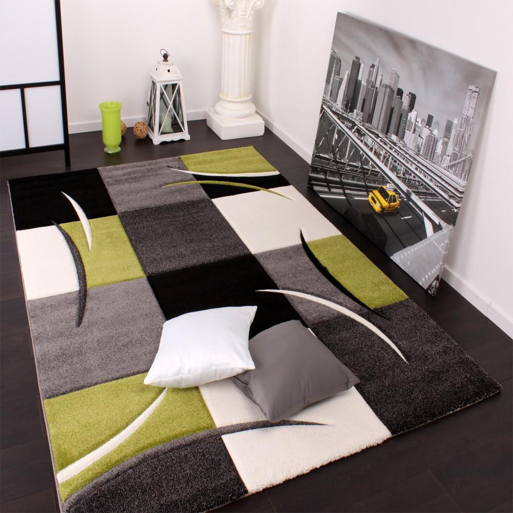 Moderner Teppich Wohnzimmer Karo Grun Schwarz
