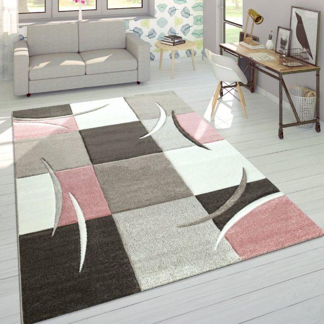 Moderner Teppich Karo Rosa Pastell