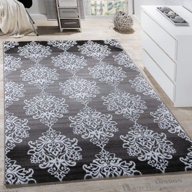 Teppich Wohnzimmer Floral Muster Abstrakt Grau
