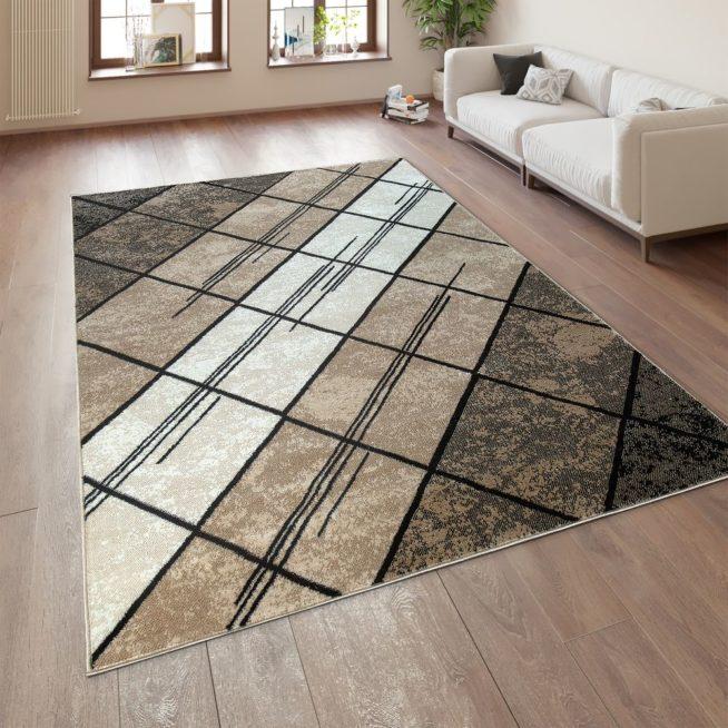 Designer Teppich Geometrische Muster Braun Beige Mirai Trading Gmbh