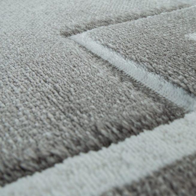 Kurzflor Teppich Modern Bordure Grau Weiss