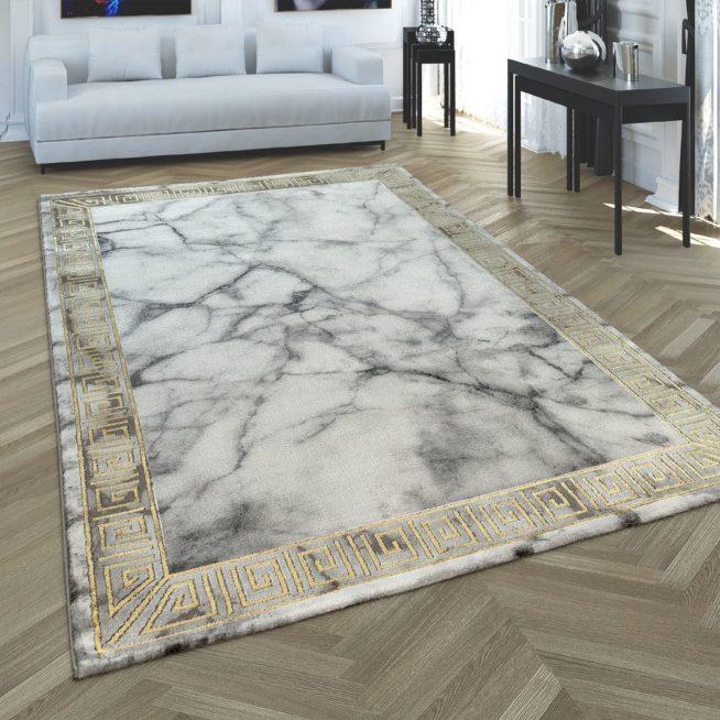 Teppich 3 D Bordure Marmor Look Grau Gold