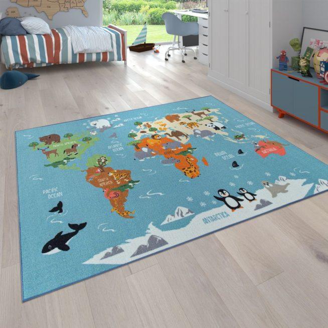 Kinderteppich Weltkarten Design Tiere Bunt Mirai Trading Gmbh